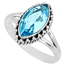 2.59cts natural blue topaz 925 sterling silver solitaire ring size 7 r57463
