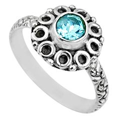 0.99cts natural blue topaz 925 sterling silver solitaire ring size 7 r64823