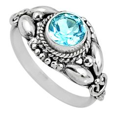 1.39cts natural blue topaz 925 sterling silver solitaire ring size 7 r64893