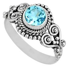 1.32cts natural blue topaz 925 sterling silver solitaire ring size 7 r64928