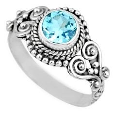 1.26cts natural blue topaz 925 sterling silver solitaire ring size 7 r64929