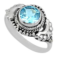 2.77cts natural blue topaz 925 sterling silver solitaire ring size 7 r64964