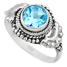 2.74cts natural blue topaz 925 sterling silver solitaire ring size 7 r64966