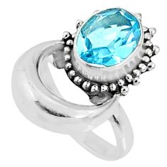 4.17cts natural blue topaz 925 sterling silver solitaire ring size 7 r67282