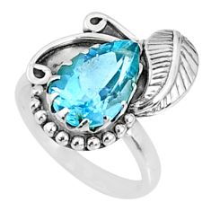 4.40cts natural blue topaz 925 sterling silver solitaire ring size 7 r67283