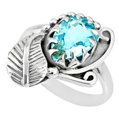 3.13cts natural blue topaz 925 sterling silver solitaire ring size 7 r67285