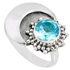 2.55cts natural blue topaz 925 sterling silver solitaire ring size 7 r67381