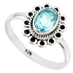1.46cts natural blue topaz 925 sterling silver solitaire ring size 7 r85502
