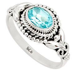 1.50cts natural blue topaz 925 sterling silver solitaire ring size 7 r85509