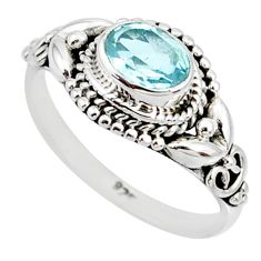 1.51cts natural blue topaz 925 sterling silver solitaire ring size 7 r85510