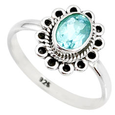 1.59cts natural blue topaz 925 sterling silver solitaire ring size 7 r85514
