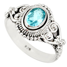 1.55cts natural blue topaz 925 sterling silver solitaire ring size 7 r85515