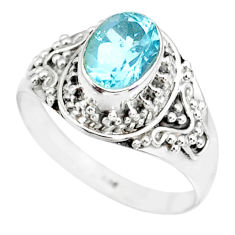 2.20cts natural blue topaz 925 sterling silver solitaire ring size 7 r87006
