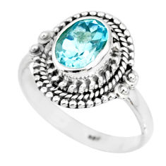 2.08cts natural blue topaz 925 sterling silver solitaire ring size 7 r87012