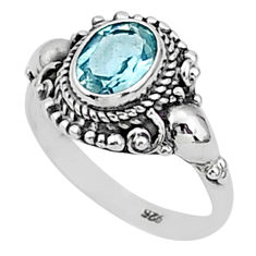 1.99cts natural blue topaz 925 sterling silver solitaire ring size 7 t1363