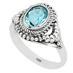 1.96cts natural blue topaz 925 sterling silver solitaire ring size 7 t1390