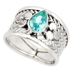 2.24cts natural blue topaz 925 sterling silver solitaire ring size 8 r34483