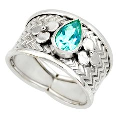 2.34cts natural blue topaz 925 sterling silver solitaire ring size 8 r34493