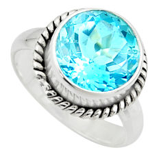 7.03cts natural blue topaz 925 sterling silver solitaire ring size 8 r49787