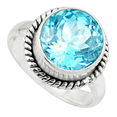 7.07cts natural blue topaz 925 sterling silver solitaire ring size 8 r49797