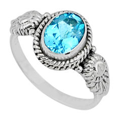 2.26cts natural blue topaz 925 sterling silver solitaire ring size 8 r57461