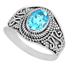 2.09cts natural blue topaz 925 sterling silver solitaire ring size 8 r58047