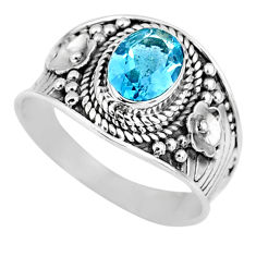 2.13cts natural blue topaz 925 sterling silver solitaire ring size 8 r58056