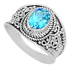2.17cts natural blue topaz 925 sterling silver solitaire ring size 8 r58058