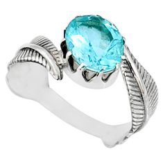 4.03cts natural blue topaz 925 sterling silver solitaire ring size 8 r67442