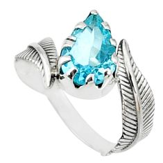 4.22cts natural blue topaz 925 sterling silver solitaire ring size 8 r67443