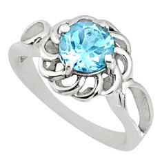 2.53cts natural blue topaz 925 sterling silver solitaire ring size 8 r68692