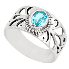 1.41cts natural blue topaz 925 sterling silver solitaire ring size 8 r68807