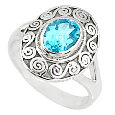2.01cts natural blue topaz 925 sterling silver solitaire ring size 8 r68887