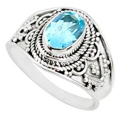 1.96cts natural blue topaz 925 sterling silver solitaire ring size 8 r69082