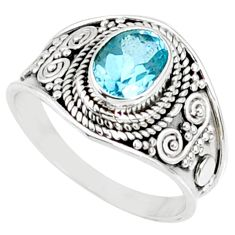 2.21cts natural blue topaz 925 sterling silver solitaire ring size 8 r69096