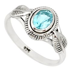 1.51cts natural blue topaz 925 sterling silver solitaire ring size 8 r85501