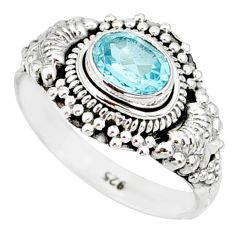1.45cts natural blue topaz 925 sterling silver solitaire ring size 8 r85503