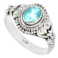 1.48cts natural blue topaz 925 sterling silver solitaire ring size 8 r85506