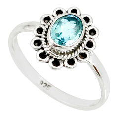1.49cts natural blue topaz 925 sterling silver solitaire ring size 8 r85513