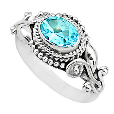 1.47cts natural blue topaz 925 sterling silver solitaire ring size 8 t3581