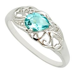 1.49cts natural blue topaz 925 sterling silver solitaire ring size 9 r25676
