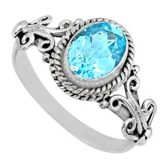 2.05cts natural blue topaz 925 sterling silver solitaire ring size 9 r57465
