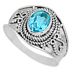 1.96cts natural blue topaz 925 sterling silver solitaire ring size 9 r58059