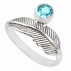 0.79cts natural blue topaz 925 sterling silver solitaire ring size 9 r67462