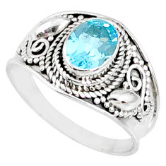 2.17cts natural blue topaz 925 sterling silver solitaire ring size 9 r69086