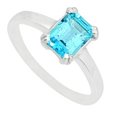 1.99cts natural blue topaz 925 sterling silver solitaire ring size 9 r83917