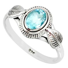 1.45cts natural blue topaz 925 sterling silver solitaire ring size 9 r85517