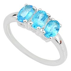 2.96cts natural blue topaz 925 sterling silver solitaire ring size 9 t7606