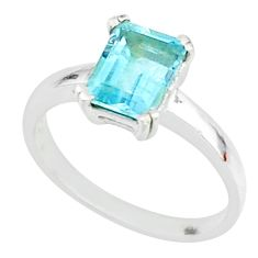 2.12cts natural blue topaz 925 sterling silver solitaire ring size 9 t7639