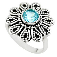 1.15cts natural blue topaz 925 sterling silver solitaire ring size 7.5 t19852